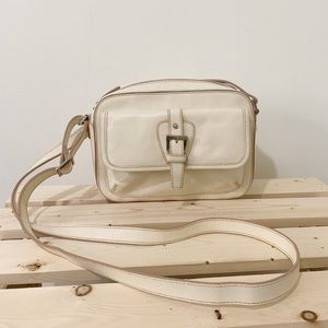 Etienne Aigner Leather Cream Crossbody Purse